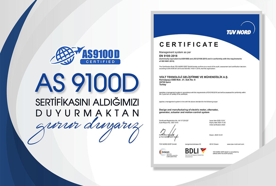 Volt Savunma olarak AS9100D sertifikasını aldık.